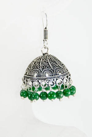 Black Metal umbrella Earrings with green beads - Desi Royale