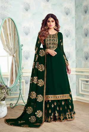 Green Designer Sharara Suit - Desi Royale