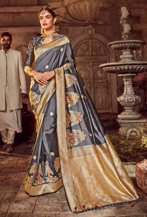 Grey Art Silk Saree - Desi Royale