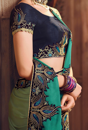 Peacock Green Designer Saree