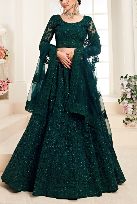 Deep Green Lehenga Choli - Desi Royale