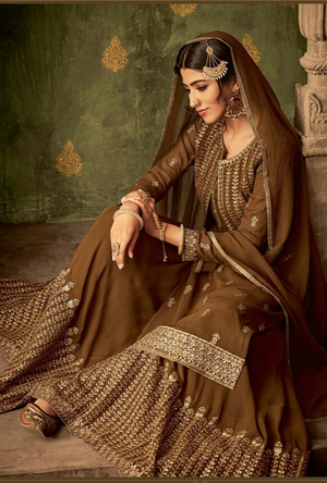 Brown Sharara Suit - Desi Royale
