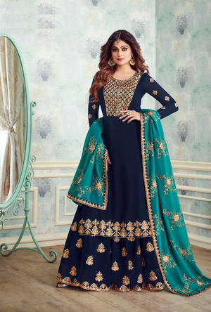 Navy Blue Designer Sharara Suit - Desi Royale
