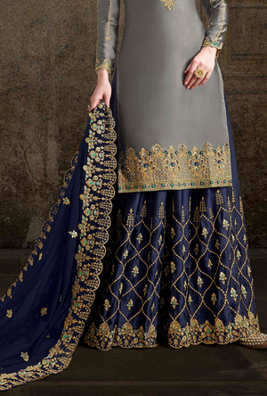 Grey and Blue Palazzo Suit - Desi Royale