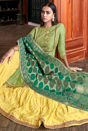 Green and Yellow Salwar Suit - Desi Royale