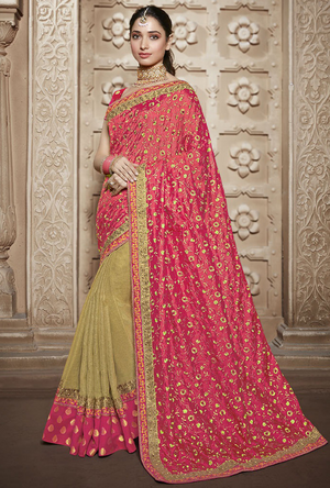 Pink Silk Saree - Desi Royale