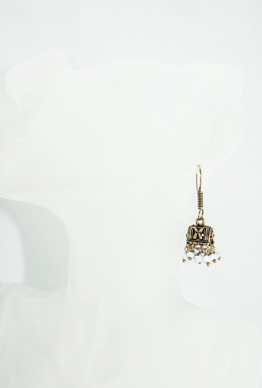Gold metal earrings with White beads - Desi Royale