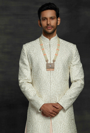 Off White and baby Pink Mens Sherwani
