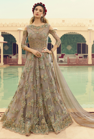 Grey party wear gown - Desi Royale