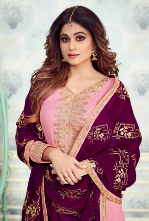 Pink and Purple Designer Sharara Suit - Desi Royale