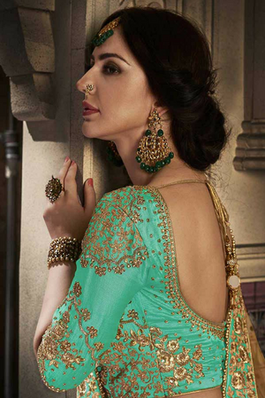 Green Embroidered Party Wear Lehenga Set - Desi Royale