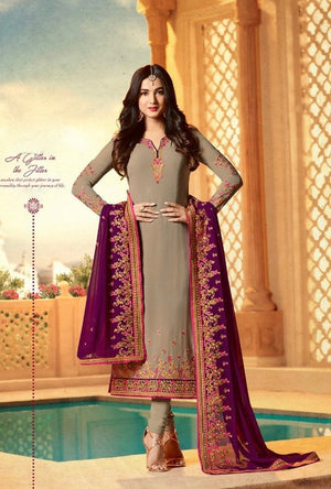 Brown  Embroidered Suit - Desi Royale