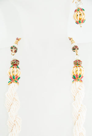Etasha Necklace With Sterling Pearl And Jadau Earrings - Desi Royale