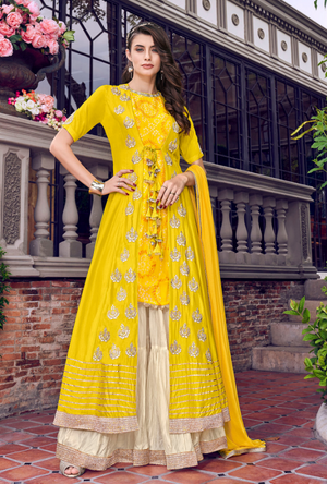 Yellow Sharara Suit - Desi Royale