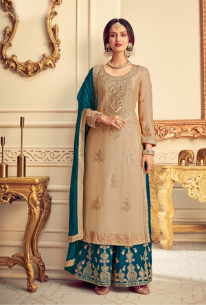 Beige and Green Party Wear Palazzo Suit