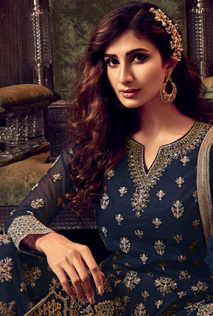 Blue Sharara Suit