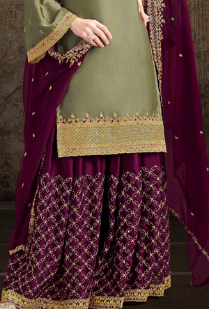 Olive and Violet Palazzo Suit - Desi Royale