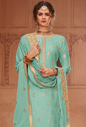 Sea Green Salwar Suit - Desi Royale