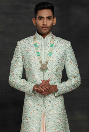 Aqua and Peach Mens Sherwani