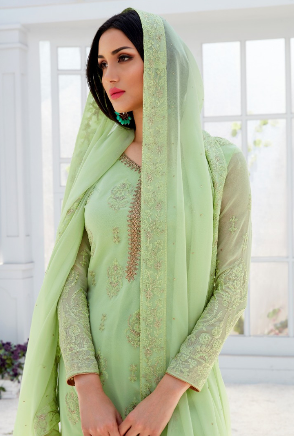 Light Green Palazzo Salwar Suit - Desi Royale