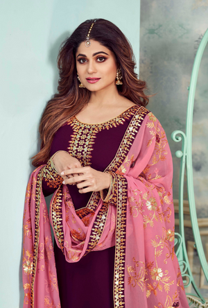 Purple and Pink Designer Sharara Suit - Desi Royale