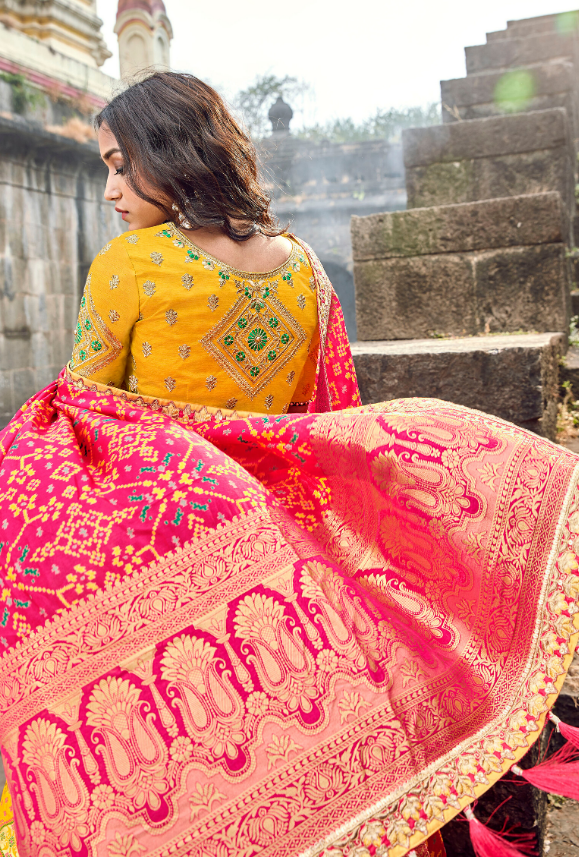 Yellow and Pink silk Lehenga Choli - Desi Royale