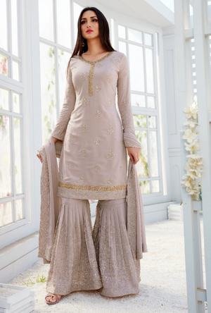 Light Pink Palazzo Salwar Suit - Desi Royale