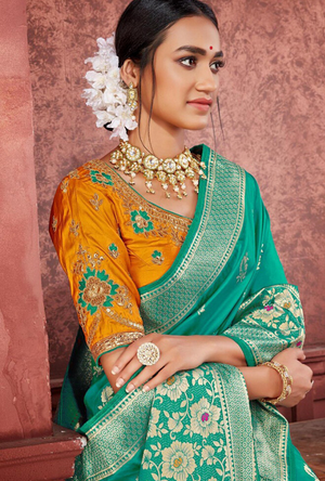 Rama Green and Orange Silk Saree - Desi Royale