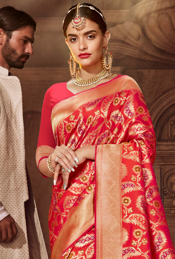 Pink Art Silk Saree - Desi Royale