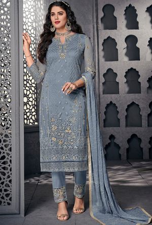 Blue Party Wear Salwar Suit - Desi Royale