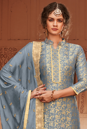 Steel Grey Salwar Suit - Desi Royale
