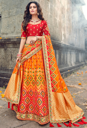 Orange and Red silk Lehenga Choli - Desi Royale