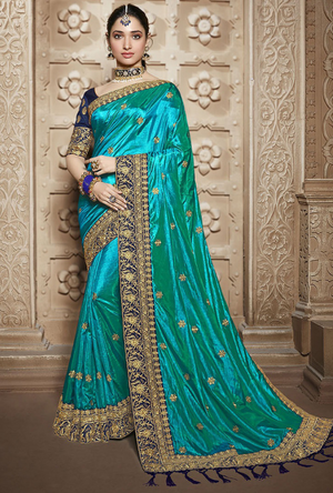 Turquoise and Navy Blue Silk Saree - Desi Royale