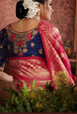 Pink and Blue Silk Saree - Desi Royale