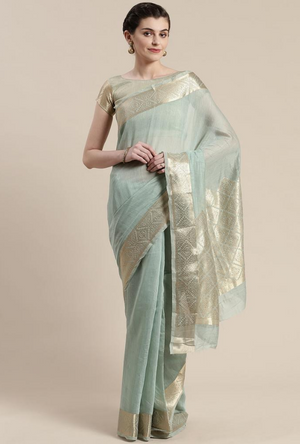Aqua Green Linen Saree