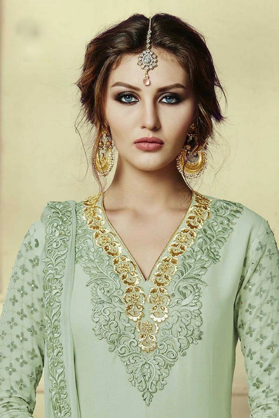 Green Embroidered Suit - Desi Royale