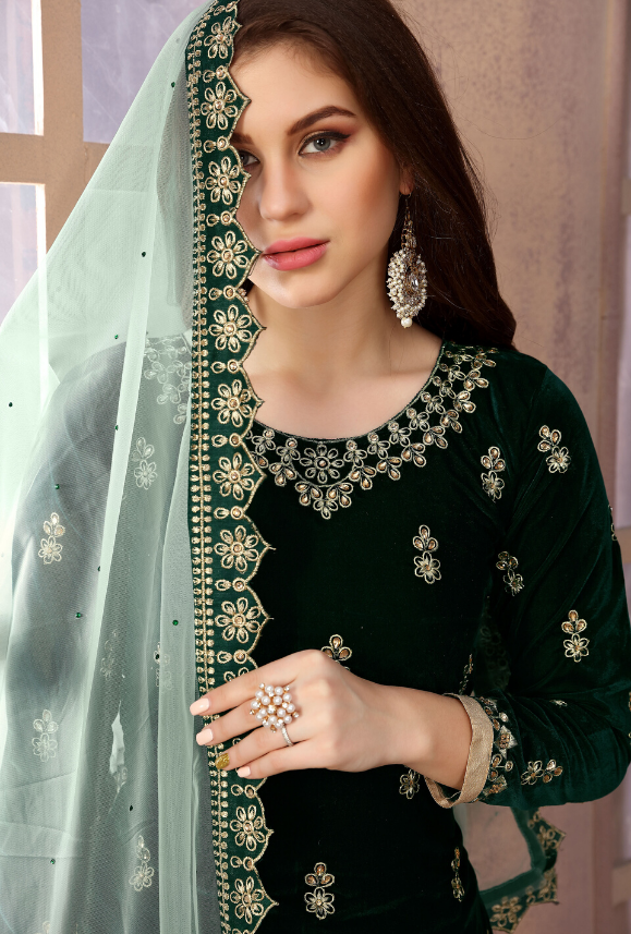 Green Patiala Suit - Desi Royale