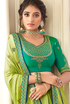 Parrot Green Silk Saree