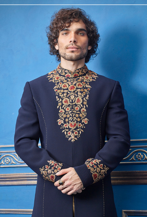 Navy Blue and Gold Mens Sherwani