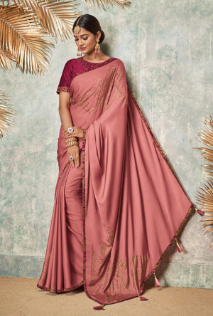Dark Pink and Maroon Silk Saree - Desi Royale