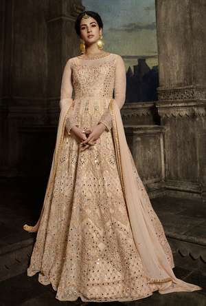 Peach Anarkali Suit