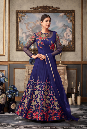 Blue Designer Net Anarkali Suit - Desi Royale