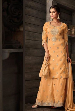 Light Orange Salwar Kameez - Desi Royale
