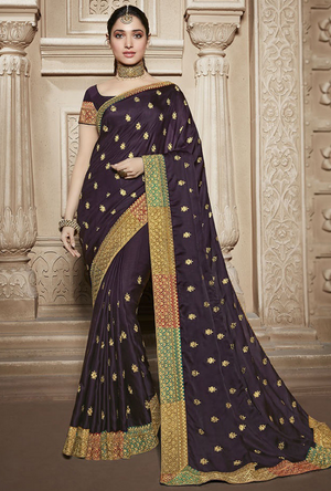 Purple Silk Saree - Desi Royale