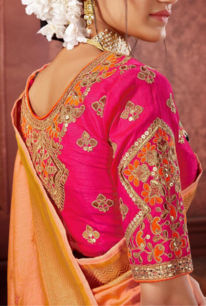 Peach and Pink Silk Saree - Desi Royale