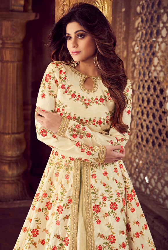 Cream Designer Anarkali Suit - Desi Royale