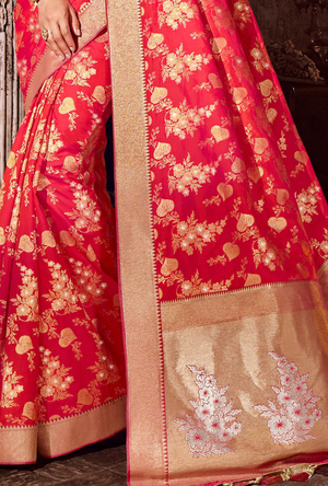 Orange Art Silk Saree - Desi Royale