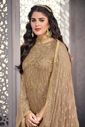 Beige Party Wear Salwar Suit - Desi Royale