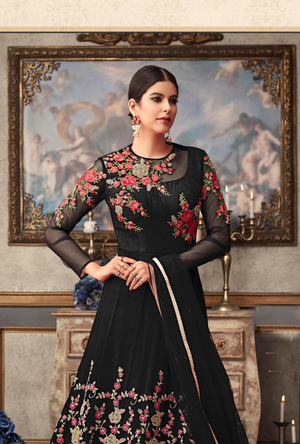 Black Designer Net Anarkali Suit - Desi Royale