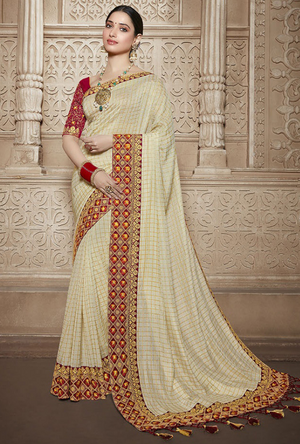 Beige and Red Silk Saree - Desi Royale